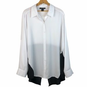 NWOT Ashley Stewart Roll-Sleeve Colorblock Blouse
